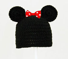 Mickey or Minnie Mouse Hat from Disney, Black Knit / Crochet Beanie baby-adult