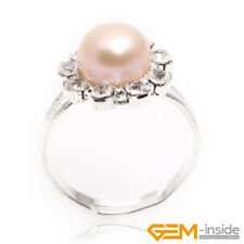 7-8mm Freshwater Pearl Beads White Gold Plated Sun Ring Jewelry Adjustable Size