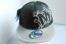 BRAND NEW BLACK/GREY  BUBBLE SHINY NY HIP HOP FITTED FLAT  PEAK BASEBALL HATS