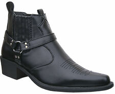 Mens New Black Cowboy Western Ankle Harness Boots Free UK Postage