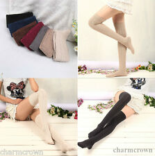 Cotton Women Knit Over Knee Thigh Stockings High Socks Pantyhose Tights 7 Colors