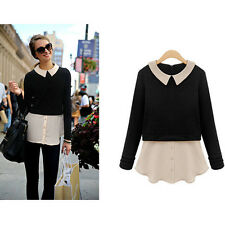 Women's Celeb Style Long Sleeve Sweaters Fake 2 Piece Knit Tops Two-tone Blouse