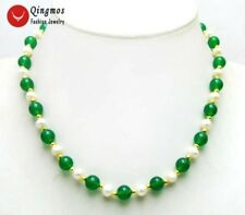 "SALE 6-7mm natural White FreshWater Pearl & 8mm Green Jade 18"" Necklace-co1016"
