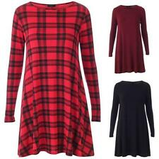 Ladies Long Sleeve Scoop Neck Flared Slouch Skater Swing Dress Tunic inc. Tartan