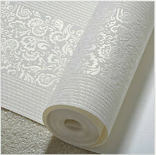 10M Home Improvement Modern Fashion Non-woven Flocking Wallpaper Rolls 5 Colors