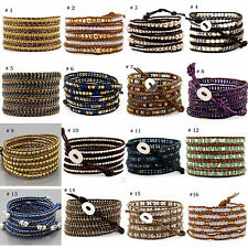 Wholesale New Womens Mens Handmade 5 Wraps Color Stone Leather Bracelet Gift BC5