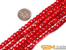 """Assorted Pink Red Orange 6mm Coral Gemstone Coin Beads For Jewelry Making 15"""""""