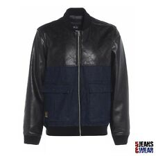 Voi Mens Branded Leather Denim Patch Bomber Jacket, Black/Denim. BNWT