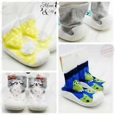 Kids Baby Girls Boys Thermal Slipper Socks Toddler Non Slip Home Rubber Sole