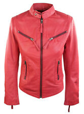 100% Ladies Real Leather Jacket Fitted Bikers Style Vintage Red Rock