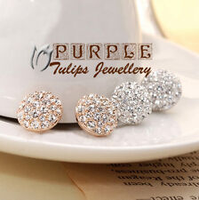 18K Gold GP Sparkling Swarovski Crystals Button Ball Clip-On Earrings