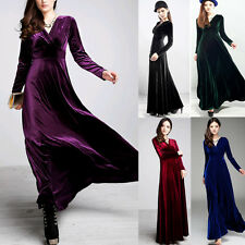 Sexy Women Gorgeous V Neck Velvet Party Evening Cocktail Long Sleeve Maxi Dress