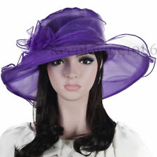 Women Kentucky Derby Church Dress Wide Brim Hat Organza Wedding Hat #SM9