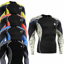 under skin compression tight uv cut armour shirts sports base layer top S~ 4XL