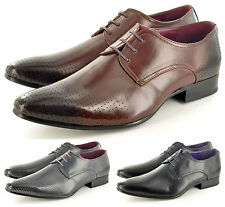 Mens Leather Lined Perforated Pointed Toe Winkle Pickers Formal Shoes UK Sz 6-11
