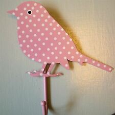 CHEAP Painted Bird COAT HOOK POLKA DOT FLORAL Shabby Vtg Chic Wall rack peg