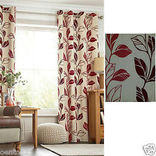 Next Taupe Red Berry Flock Leaf Trail Ring Top Eyelet Lined Curtains Linen Look