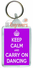 KEEP CALM AND CARRY ON DANCING KEYRING BAG TAG BIRTHDAY NOVELTY PARTY GIFT