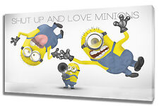 Wall Art Canvas Picture Print of Shut up and Love Minions Framed