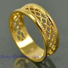 6,7,8,9,10# ELEGANT WOVEN BAND REAL 18K YELLOW GOLD PLATED RING SOLID FILL GP