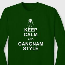 Keep Calm and Gangnam Style Funny dance T-shirt PSY parody Long Sleeve Tee