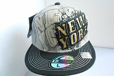 NEW GREY BLACK GOLD SHINY NEW YORK HIP HOP FITTED FLAT PEAK BASEBALL HAT SIZE XL