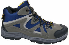 Mens New Grey / Blue Hiking Trail Trek Rambling Walking Boots Free UK Postage