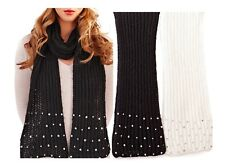 WOMENS LADIES CABLE KNIT JEWEL LONG SCARF WINTER BLACK OR CREAM LADIES ONE SIZE