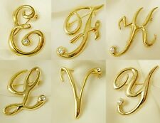 Letter Initial Crystal Gold Plate Pin Brooch  ~ Gift Boxed ~ E F L K V Y