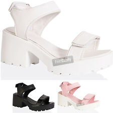 WOMENS LADIES BLOCK HEEL CHUNKY THICK SOLE ANKLE VELCRO STRAP SANDALS SIZE