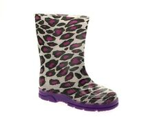 KIDS GIRLS WELLINGTON BOOTS MID CALF SNOW PURPLE LEOPARD ANKLE WELLIES SIZE 6-12