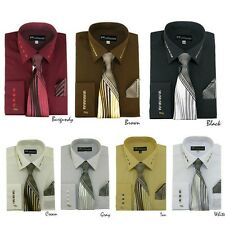 Milano Moda Men's French Cuff Dress Shirt with Matching Tie And Handkerchief