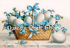 Easter Forget-me-not Basket  Fabric Block  9251