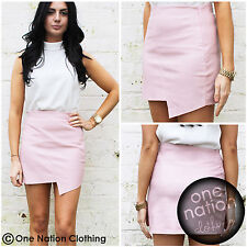 Faux Leather Asymmetric Zip Skirt In Dusky Baby Pink Mini Wrap PU PVC 8 10 12 14