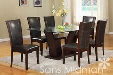 New 7 pc Espresso or White Glamour Dining Set w/ Glass Table Top & 6 Chairs