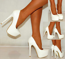 LADIES WHITE PU FAUX LEATHER STILETTO COURT PLATFORMS SHOES HIGH HEELS STILETTO