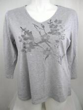 Calvin Klein Jeans Plus Size 3/4 Sleeve Wide V-Neck Top w/Silk Screened Flowers