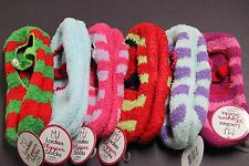 2 PAIR Womens Fuzzy Non Slip Slipper Socks Ankle NO SHOW Footie 9-11 RED PINK M1