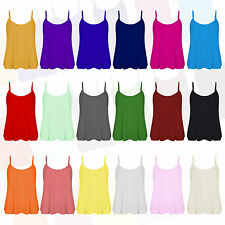 H8BC NEW LADIES WOMENS SPAGHETTI STRAP PLAIN CAMISOLE SWING TOP T SHIRT SM ML