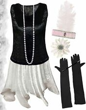 Black / White Roaring 20's PLUS SIZE Flapper Dress Halloween Costume XL to 9x