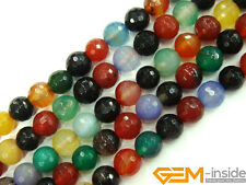 """Multi-Color Agate Gemstone Faceted Round Beads For Jewelry Making Strand 15"""""""