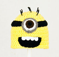 Minon Hat from Despicable Me, Yellow / Purple Knit / Crochet Beanie baby-adult