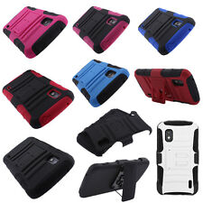 FOR LG Google Nexus 4 E960 Combo Holster HYBRID Silicone Rubber STAND Case Cover