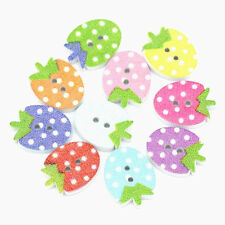 20 or 40 wooden strawberry buttons Mixed colours for scrapbooking cardmaking etc