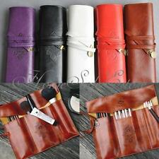 Retro Vintage Roll Leather Make up Cosmetic Pen Pencil Case Pouch Purse Bag New