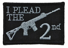 "I Plead the 2nd Second - 2""x3"" Hat Patch Police Military Morale Funny Velcro"