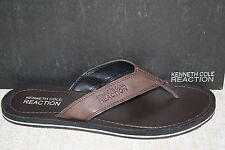 MENS KENNETH COLE COAST LINE BROWN LEATHER THONG FLIP FLOPS (B326) SEE DETAILS