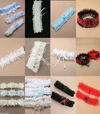 LACE BRIDAL WEDDING GARTER - BOW PEARL DIAMANTE HEART WHITE/BLUE/BLACK/IVORY/RED