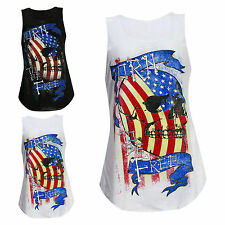 New Ladies Womens Sleeveless Skull USA Print BORN TO BE FREE Vest Tank Top SM ML