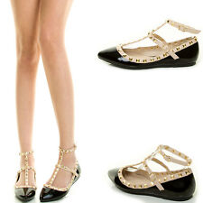 Nude Ankle T Strap Mary Jane Gold Stud Gladiator Ballet Flat Ballerina Pump Shoe